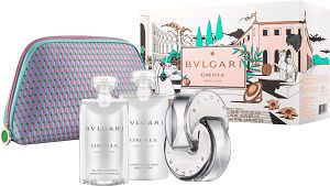 Kit Bvlgari Omnia Crystalline Perfume Feminino + Loção Corporal + Gel de Banho + Nécessaire